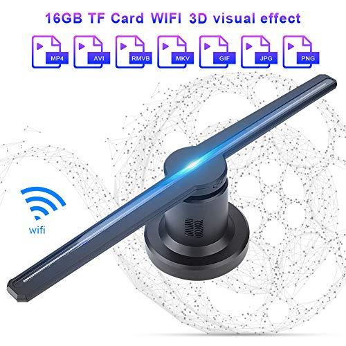 3D Hologramm Projektor,ASHATA LED Holographic Projektor 3D WIFI Ausstellung Projektor,Multi-Funktion LED-Hologramm Werbung Anzeigen mit 16GB TF Karte für Video- Animations- und Bildanzeige(EU-Stecker)