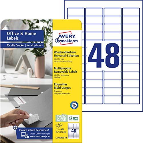 AVERY Zweckform L4736REV-10 Universal Etiketten (480 Klebeetiketten, 45,7x21,2 mm auf A4, wieder rückstandsfrei ablösbar / abziehbar, individuell bedruckbare, selbstklebende Aufkleber) 10 Blatt, weiß