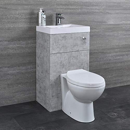 Hudson Reed WC-Kombination Splash 2 - Einteiliges WC mit Spülmechanismus im Wandschrank mit integriertem Aufsatzwaschbecken - Platzsparend und praktisch für Gäste WCs und kleine Badezimmer - Steingrau