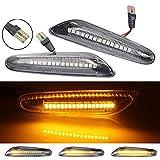 2 intermitentes laterales LED dinámicos con certificado B-MW 1 3 5 Series E60 E61 E81 E82 E88 E46 E90 E91 E92 E93 X3 E83 X1 E84 (Blanco)