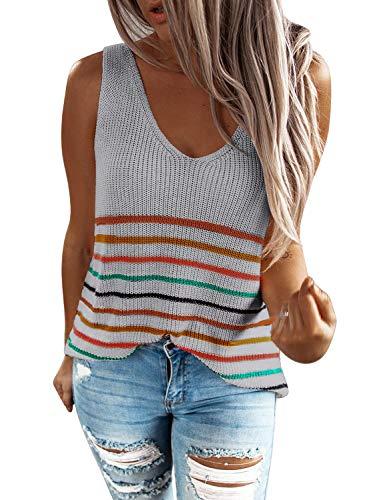 HAPPY SAILED Camiseta sin mangas de punto para mujer, estilo casual, tallas S-XXL gris S