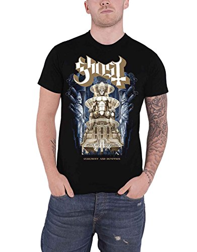 Ghost T Shirt Ceremony and Devotion Band Logo Official Mens Black (Large)
