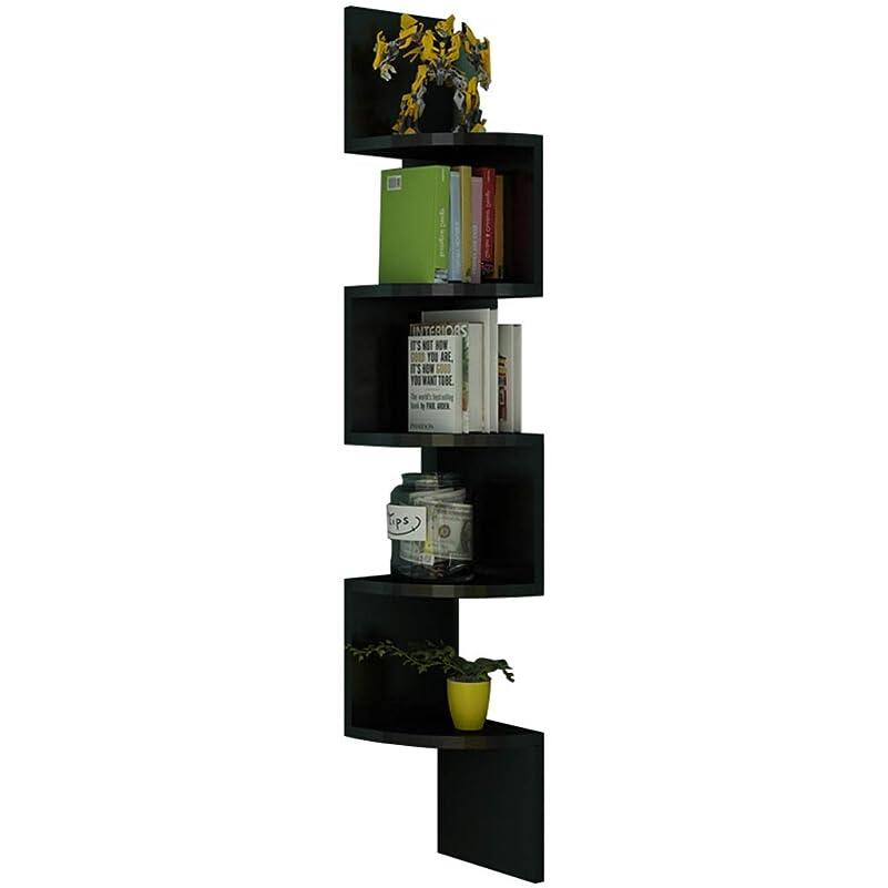 と遊ぶ胆嚢洋服SHYPwM フローティングウォールシェルフセクター多層無垢材収納ラックコーナーラック扇形本棚隔壁ラック 多目的ディスプレイスタンド (Color : Black)