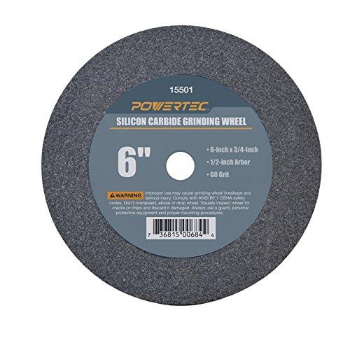 "POWERTEC 15501 1/2"" Arbor 60-Grit Silicon Carbide Grinding Wheel, 6"" x 3/4"""