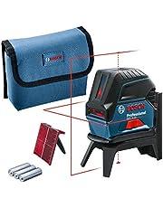 Bosch Professional korslinjelaser GCL 2-15 (röd laser, med lodpunkter, arbetsområde: 15 m, 3 x AA-batterier, roterande fäste RM 1, lasermåltavla, skyddsväska)