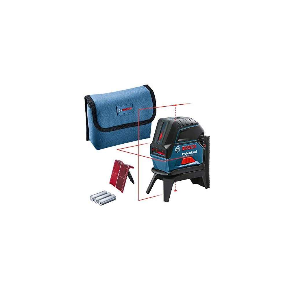 Bosch Professional laser ligne en croix GCL 2-15 (laser rouge, pour l'intérieur, avec points d'aplomb, portée : 15 m, 3…