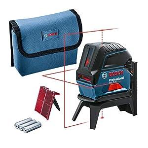 Bosch Professional GCL 2-15 - Nivel láser combinado, con puntos de plomada, 3 pilas AA, soporte giratorio RM 1, placa reflectora, estuche de protección, Láser rojo sin maletín, 1.5 V, 15 m