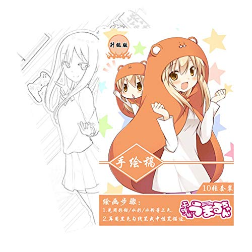 Bowinr Japanese Anime Coloring Book, 10 Pages Beautiful and Relaxing Manga-Style Coloring Portraits for Kids and Adults( Himouto! Umaru-chan)