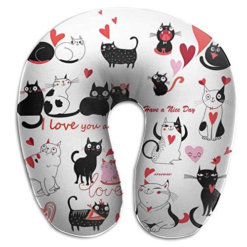 Sabalone Almohada para el Cuello Juego de Gatos Enamorados Almohada de Viaje en Forma de U Funda Lavable con diseño ergonómico y Contorneado