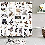 AYISTELU Duschvorhang Sets mit rutschfesten Teppichen,Ziegenfarm Hamster Ente Rinder Maus Haustier Schwein inländisch, Badematte + Duschvorhang mit 12 Haken