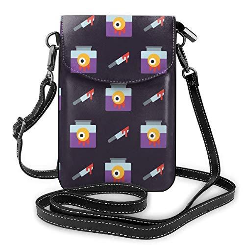 Lawenp Monedero de cuero para teléfono, bolso bandolera pequeño aterrador de Halloween Mini bolso para teléfono celular para mujer