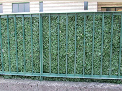 Künstliche Hecke 1,5 x 3 m (4,5 m²) auf Rolle mit Blättern für Balkon – Sichtschutznetz für Außeneinrichtungen – Zaun Geländer Garten