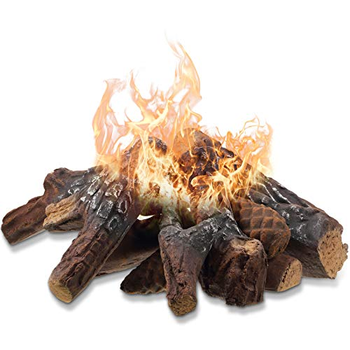 Ceramic Fiber Wood Small Size Gas Fireplace Logs for Most Types of Indoor, Gas Insert, Ventless, Propane, Gel, Ethanol, Electric, Outdoor Fireplaces, Fire Pits, Clean Burning Accessories (12 Pieces)