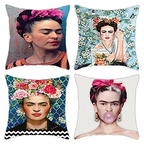 Adecuado para Frida Kahlo, paquete de 4 fundas de almohada, autorretrato de pintor mexicano, funda decorativa para sofá, funda para cojín para coche, 45 x 45 cm