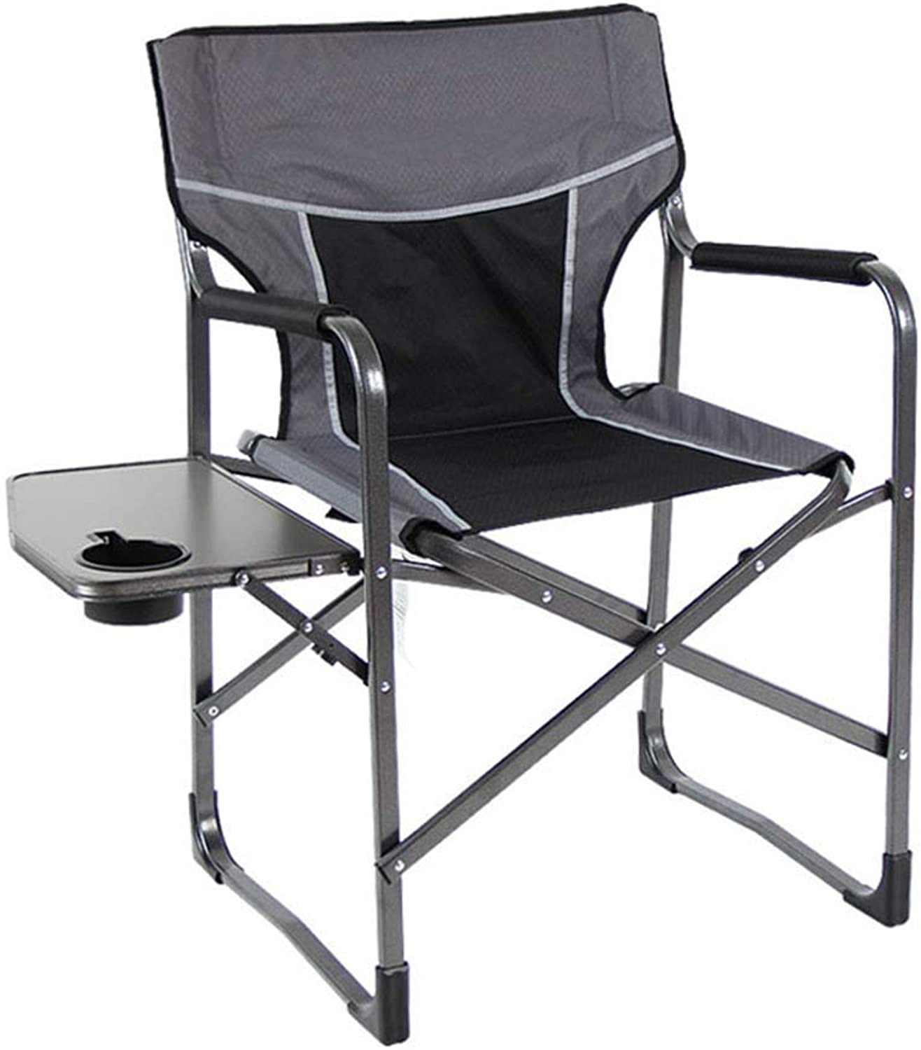 DaQingYuntur Outdoor Lounge Chair, Aluminum Fishing Chair, Outdoor Chair with Table, high Back Director Cup Holder,Outdoor Leisure Luxury Padded Folding Camping Chair (color   Black)