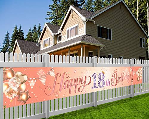HOWAF Grande 18 Compleanno Bandierine Oro Rosa Ragazza 18 Anni Compleanno Decorazione, 18 Compleanno Photo Booth Fondale Sfondo Striscione Tessuto per Giardino Tavolo Parete, 9*1.2 Piedi