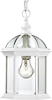 Nuvo Lighting 60/4977 Boxwood One Light Hanging Lantern 100 Watt A19 Max. Clear Beveled Glass White Outdoor Fixture