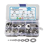 SZHKM 550PCS Flat Washers for Screws, 304 Stainless Steel Metric Washer Assortment Metal Washers Assorted Sizes Set Washers Kit M2 M2.5 M3 M4 M5 M6 M8 M10