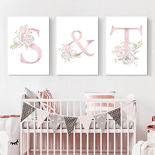 Gymqian Lienzo Arte de la Pared Flores Rosadas Carteles e Impresiones del bebé Arte de la guardería Cuadros de Pintura Cuadros para niñas Decoración de la habitación Mural 50x70cmx3 Sin Marco