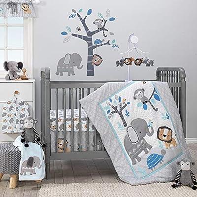 Bedtime Originals Jungle Fun 3-Piece Crib Bedding Set, Blue/Gray by Lambs & Ivy Bedtime