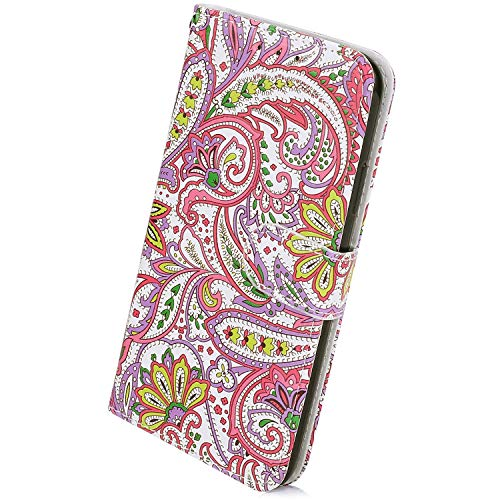 Herbests Kompatibel mit Samsung Galaxy A9 2018 Handyhülle Lederhülle Retro Bunt Ledertasche Brieftasche Schutzhülle Klapphülle Kartenfach Bookstyle Handytasche Etui mit Magnet,Pink Blumen