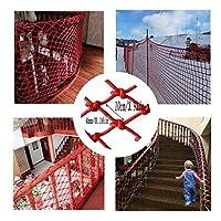 PLLP 安全ネット、子供の安全屋外手すりネット保護ネット、赤い保護ネット取り外し可能なバルコニーと階段の安全ネット編まれたロープトラックトレーラーネット赤い装飾ネット,1x2m