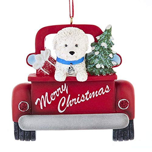 Kurt Adler A1940BF Bichon Frise in Back of Truck Ornament for Personalization, 5-inch High, Resin