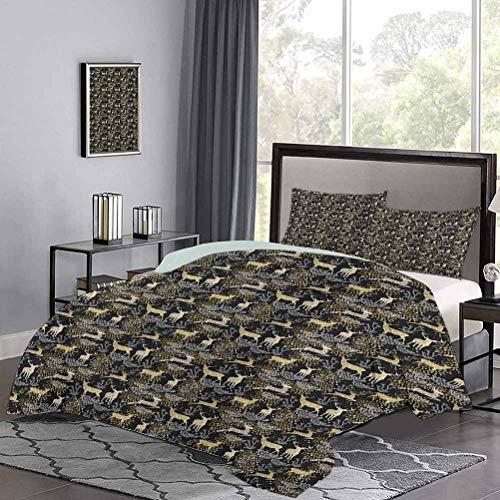 UNOSEKS LANZON Set copripiumino con sagome di bosco naturale e cervi con ornamenti orientali, design artistico, set di copripiumino per una notte di sonno, dorato, bianco, nero, taglia doppia