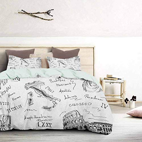 UNOSEKS LANZON Duvet Cover Ancient Roman Period Icons Caesar Colosseum Gladiator and Map Sketch Art Summer Bedding Breathable and Comfortable Black and White, King Size