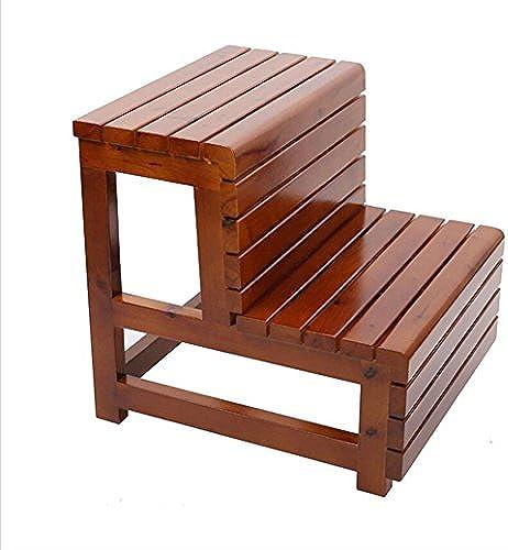 Xin-stool Massivholz Treppe ZWeißDREI Leiter Treppe, Treppenhaus Hocker, Rutschfest, langlebig (Stil   Maroon)