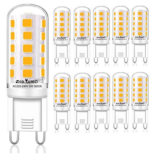 Eco.Luma Bombillas LED G9 5W - Blanco Cálido 3000K, 40W 33W Lampara Halógena Equivalente, 420LM Suficiente Brillante, Sin Parpadeos, No Regulable, 10 unidades, [Clase de eficiencia energética A+]