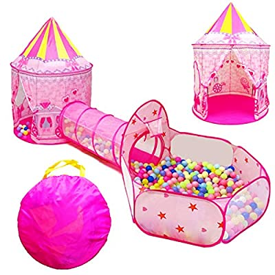 LOJETON 3pc Girls Princess Fairy Tale Castle Play Tent, Crawl Tunnel & Ball Pit with Basketball Hoop for Kids Toddlers, Indoor & Outdoor Playhouse from LOJETON