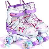 Roller Skates for Kids, Shine Skates 4 Size Adjustable Roller Skates with Light up Wheels for Girls,...
