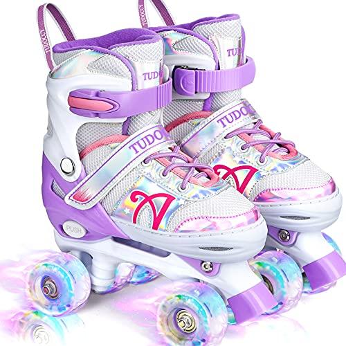 Roller Skates for Kids, Shine Skates 4 Size Adjustable Roller Skates with Light up Wheels for Girls, Teens, Outdoor Rollerskates for Beginners &...
