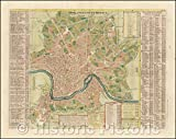 Historic Map - Rome Ancienne et Moderne/Ancient Rome and Modern, 1720, Henri Chatelain - Vintage Wall Art 24in x 18in