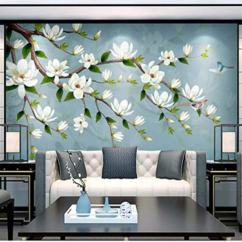 Guyuell Europischen Stil 3D Retro Blaumen Und Vgel Fototapeten Tapete Wohnzimmer ltere Raum Hintergrund Wandmalerei Fresko-400Cmx280Cm