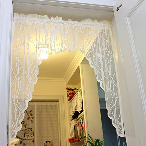 Ivory Lace Curtain Swag Kitchen Curtains Valances Bird Sheer Curtain Tier Window Treatment for Living Room , 1 Pair