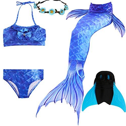 UniDesign Meerjungfrau Flosse Zum Schwimmen Meerjungfrau Schwanz mit Flosse mit Bikini für Kinder Mädchen, 7-8 Jahre, blau