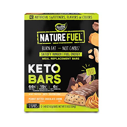 Nature Fuel Keto Meal Replacement Bar - Gluten Free - with Whey Protein & MCTs - Peanut Butter Chocolate Chunk - 12 Count