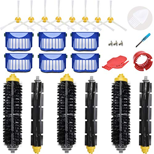 LOVECO Replacement Parts Kit for iRobot Roomba 645 655 675 Robotics,6 Filter,6 Side Brush,3 Bristle and Flexible Beater Brush