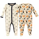 Hudson Baby Unisex Baby Cotton Sleep and Play, Cream Forest, 3-6 Months