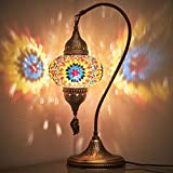 (18 Variations) CopperBull 2020 Turkish Moroccan Tiffany Style Handmade Colorful Mosaic Table Desk Bedside Night Swan Neck Lamp Light Lampshade, 19'