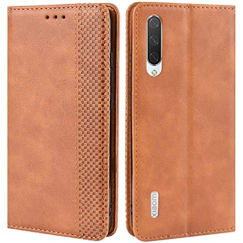 HualuBro Handyhülle für Xiaomi Mi A3 Hülle, Retro Leder Brieftasche Tasche Schutzhülle Handytasche LederHülle Flip Hülle Cover für Xiaomi Mi A3 - Braun