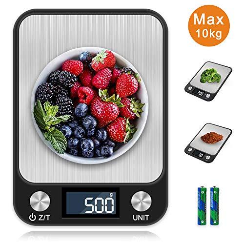 otumixx Küchenwaage Digitalwaage 1g bis 10kg Touch Control, Leuchtende LCD-Anzeige, Tara-Funktion, 7 Einheiten Konvertierung, Hochpräzise Elektronische Waage, Schwarz