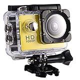 DAUERHAFT Mini cámara Deportiva DV, cámara de acción DV para Ciclismo al Aire Libre Impermeable de 7 Colores, Carga USB, con Kits de Accesorios(Amarillo)
