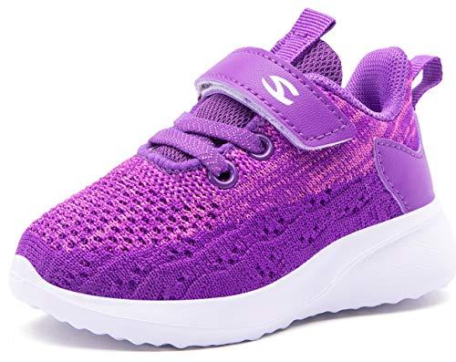BODATU Boys Girls Running Shoes Little Kid Lightweight Casual Sneakers Purple 7046, 13.5 Little Kid