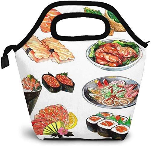 Delicious Food Sushi Bolsa de almuerzo aislada personalizada Bento Box Picnic Cooler portátil bolso almuerzo bolsa para mujeres niñas hombres niño