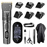 Hair Clippers Professional Hair trimmer Cordless Haircut Kit with Titanium & Ceramic Blades Waterproof for Quick Cut, Rechargeable with LED Display Hairdressing Cape