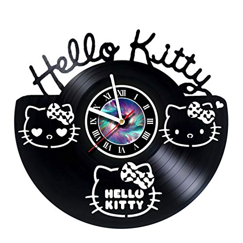StepArtHouse Hello Kitty - Handmade Vinyl Wall Clock - Get Unique Gifts Presents for Birthday, Christmas, Ideas for Boys, Girls, Men, Women, Adults, him and her - Unique Design