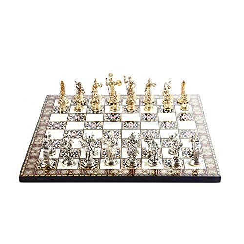 GiftHome Juego de ajedrez de metal con figuras romanas históricas para adultos, piezas frescas hechas a mano y tablero de ajedrez de madera con estampado de madreperla King 2.8 inc